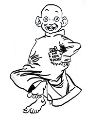 The Yellow Kid - Mickey Dugan of Hogans Alley 3128 (Brechtbug) Tags: the yellow kid mickey dugan hogans alley relaxing with pocket full cigars comic strip newspaper news paper sunday funnies daily comics funny humor satire character syndicate 2017 pen ink bald child smiling created by richard f outcault first appearance 1895 ran from 1898 joseph pulitzers new york world later william randolph hearsts journal