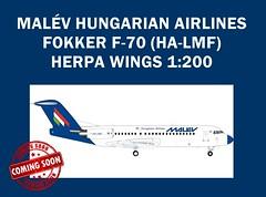 MALÉV Hungarian Airlines Fokker 70 Herpa model in 1:200 scale (KristofCs) Tags: halmf malev fokker f70 herpa 1200