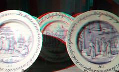 Borden Museum Rotterdam 3D (wim hoppenbrouwers) Tags: borden museum rotterdam 3d anaglyph stereo redcyan blueware plates delfts w3
