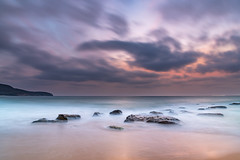 Soft Dawn Seascape with Smoky Haze and Clouds at the Seaside (Merrillie) Tags: sea summer beach bronze dawn purple nsw newsouthwales ocean pink sky nature clouds sunrise landscape outdoors coast rocks cloudy earlymorning australia coastal daybreak killcare killcarebeach morning seascape water seaside waves hazy centralcoast waterscape