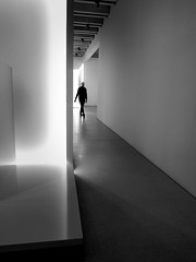 visitor in the museum (christikren) Tags: architecture absoluteblackandwhite ausstellung bw christikren candid design exhibition bauhaus weimar museum sw light shadow one human person canon powershotg5x minimal germany mono