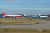 NATO Visitors London Stansted 3 Dec 2019 Wide view of Govt of Turkey B747-8 and Air Force One VC25s 3 Dec 2019