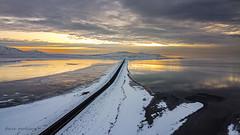 The causeway to Antelope Island at Sunset from above (dperkphoto) Tags: syracuse utah unitedstatesofamerica
