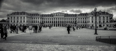 Schonbrunn Palace Vienna (Ric Evers) Tags: vienna blackwhite ilfordfp4 bw canont70 widelens