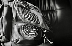 My bag (•Nicolas•) Tags: mjuii hp5 travel usa bag flag olympus bw patches nicolasthomas ilford