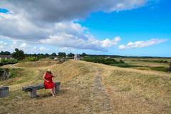 sBs_1907(vac1)_8825-2 (schoolartBYschoolboy) Tags: charentemaritime grass woman mag glamour dress red bench sky clouds
