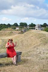 sBs_1907(vac1)_8826-2 (schoolartBYschoolboy) Tags: charentemaritime grass woman mag glamour dress red bench sky clouds