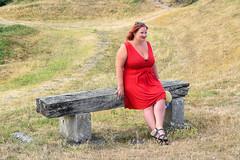 sBs_1907(vac1)_8831-2 (schoolartBYschoolboy) Tags: charentemaritime grass woman mag glamour dress red bench