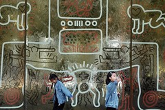 double denim (jhnmccrmck) Tags: waterwall keithharing ngv melbourne victoria southbank fujifilm fujifilmxt1 xt1 xf1855mm classicchrome