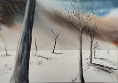 Blanc (mog gom) Tags: aquarelle arches ciel himmel sky arbre baum tree blanc white weiss fusion art peinture watercolor