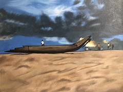 Acrylic on canvas (Abipriya Rajendran) Tags: sunset people beach painting boat acrylic canvas monsoon darkclouds kovalam