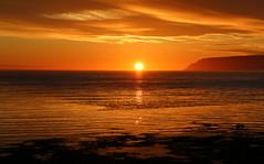 Sunrise (hó) Tags: arnarfjörður selárdalur sunrise landscape göltur sun clouds orange june 2019 sea fjord calm waves reflection coast beach westfjords vestfirðir sóarupprás summer