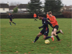 Day 341 On the ball (Dominic@Caterham) Tags: football players pitch houses ball trees park winter