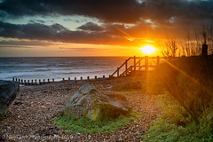 Going Down (Neil Clark) Tags: englishchannel greatbritain konicahexanonar40mmf18 manualfocus primelens seascape seaside southcoast sunset westsussex westworthing beach legacylens sea shingle