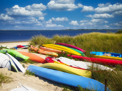 Nantucket Color (RobertCross1 (off and on)) Tags: 20mmf17panasonic atlantic atlanticocean em5 ma massachusetts nantucket newengland omd olympus beach bluesky boats canoe clouds island kayak landscape ocean