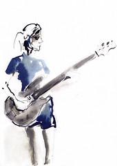 Femme en rock (Mirte) [20191206]-1 (rodneyvdb) Tags: art bass bassist concert drawing explore femme guitar guitarist illustration ink music musician rock rockband rocker spotlight stage