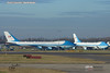 Air Force One 029000 and VC25 028000 lineup at London Stansted Trump visit for NATO summit 3 Dec 2019 Trump arrived 2 Dec 2019 after dark