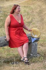 sBs_1907(vac1)_8829-2 (schoolartBYschoolboy) Tags: charentemaritime grass woman mag glamour dress red bench