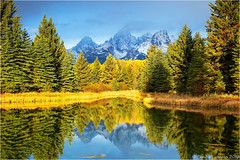 Grand Teton (Sandra Lipproß) Tags: wyoming grandtetonnationalpark schwabacherlanding reflection usa landscape rockymountains nature earlymorning pool snakeriver fall autumn earlymorninglight