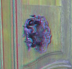 Wurzen bei / near Leipzig (Rolf Marquardt) Tags: 3d stereo anaglyph rotcyan redcyan wurzen schloss castle türklopfer doorknocker