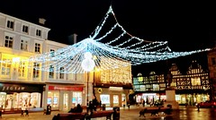 The Square. (daveandlyn1) Tags: huaweip8 p8lite2017 pralx1 christmaslights shrewsbury thesquare shops people smartphone psdigitalcamera cameraphone nightphoto