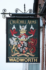 The Churchill Arms pub sign West Lavington Wiltshire UK (davidseall) Tags: the churchill arms pub sign west lavington wiltshire uk inn tavern bar public house houses gb british english hanging heraldic wadworth brewery