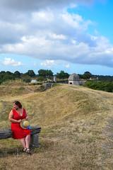 sBs_1907(vac1)_8828-2 (schoolartBYschoolboy) Tags: charentemaritime grass woman mag glamour dress red bench sky clouds