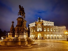 Statue of King Johann at Semperoper Dresden Germany at Night (mbell1975) Tags: dresden saxony germany statue king johann semperoper night deutschland deutsch german saxon altstadt old town oldtown historic evening lights dark opera opernhaus ópera operahuset teatro dellopera operahuis house sculpture equestrian koeng theatreplatz plaza theater theatre