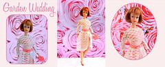 GARDEN WEDDING (ModBarbieLover) Tags: 1966 fashion doll barbie mattel 1600series toy lace satin pink white roses titian american girl vintage dress