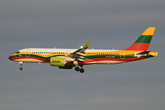 Air Baltic Lithuanian Flag special colours (Retro Jets) Tags: airbaltic a220 cs300 lgw lithuania special