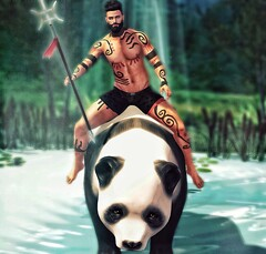 [ 📷 - 216 ] (insociable.sl) Tags: magnificient junaartistictattoo cubura beard hide jungle pet animal panda sauvage aztec man male boy edit sl secondlife