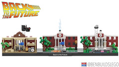 """Lego """"Back to the Future"""" skyline MOC (BenBuildsLego) Tags: lego legos back future hill valley clock tower doc brown mini micro tiny benbuildslego save delorean car classic movie toy toys west western lightning instructions cool design 1885 1955 2015"""