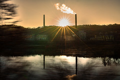 Industrial shore at the Elbe river (Honza 007) Tags: industry river sun sunset sunshine colours clour movement motion move old building tree water mirror mirroring