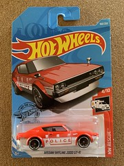 Mattel Hot Wheels -  HW Rescue 2019 - Number 4 / 10 - Nissan Skyline 2000 GT-R  - Japanese Police Car - Long Card -Miniature Diecast Metal Scale Model Emergency Services Vehicle (firehouse.ie) Tags: polizeiwagen polizeiauto polizei coches coche cop cops red japanese japan police nissan cars car toys toy hotwheels hw