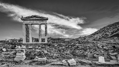 Crumbled (Shawn Harquail) Tags: archaeologicalsiteofdelos architecture blackwhite historic mikonos ruins shawnharquail archaeology bw blackandwhite building delos greece history monochrome ruin shawnharquailcom