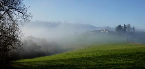 La disparition du paysage, brumes de décembre, Bosdarros, Béarn, Pyrénées Atlantiques, Nouvelle-Aquitaine, France.