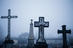 Montbarrey (France 2019) (theodirector) Tags: cemetery grave cross graveyard monuments crosses jesus religion fog fogged foggy mist misty cold winter graves montbarrey jura