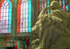 Nieuwe Kerk Delft 3D (wim hoppenbrouwers) Tags: anaglyph stereo redcyan nieuwekerk delft 3d statue monument lion leeuw willemi