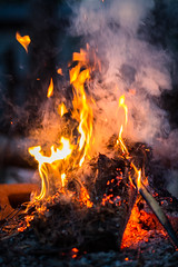 Campfire in Quebec (Aesthetic Pictures Guru) Tags: campfire fire camping quebec canada wood smoke flames wilderness adventure