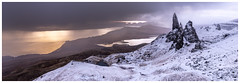 Old Man of Storr, Isle of Skye (Michael Long Landscaper) Tags: canoneosr canonuk canon1635mm isleofskye landscape landmark scottish scottishhighlands vistscotland scotland oldmanstorr snow hiking climbing skye trotternishridge sunrise panoramic