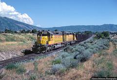 Take the Long Way Home (jamesbelmont) Tags: unionpacific provosubdivision sandy sandycity draper utah uta blueline trax utahtransitauthority emd sd402 ogvog oretrain reroute train railroad railway locomotive hopper