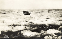 An in-flight picture of a Brandenburg W 12 floatplane over thick clouds [Germany, 1916] (Kees Kort Collection) Tags: 1916 542 finke floatplane hansabrandenburg inflight w12 airtoairview