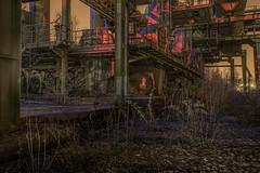 Industrial study (Markus Lehr) Tags: industrialstructure derelict light nopeople atmosphere night verylongexposure contemporaryphotography duisburg germany markuslehr