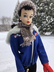 On the trail (Foxy Belle) Tags: vintage barbie ski winter snow 3 poodle bangs hat sport outside nature trees scarf brunette brown eyeliner doll toy