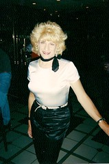 Oh! My! God! Was This Really Me, In The Year 2000? (Laurette Victoria) Tags: laurette woman eagans milwaukee saturdaynight pants satin kerchief blonde