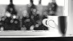 Old window, old lens, young at heart... (JayTeeMan) Tags: bokeh scratchedwindow espressocup russianlens snowflakes evergreentrees