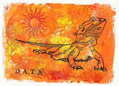 Data - Mixed Media (lwdphoto) Tags: lance duffin lancewadeduffin lanceduffin monoprint acrylic miniprint blockprint print printmaking ink art linocut gelliplate gelli gelliprint lizard beardeddragon animal sun