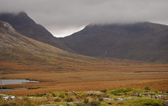 Mountains in the clouds (CobaltWildlife) Tags: ireland lake clouds connemara 2015 inaghvalley loughinagh sky mountains water weather landscape