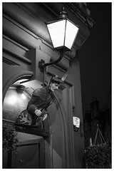 Pub entrance, Royal Mile, Edinburgh (S.R.Murphy) Tags: edinburgh fujifilmxf35mmf2 night nov2019 urban urbanlandscape fujifilmxt2 nightphotography socialdocumentary streetphotography soldier pub bnw bw blackandwhite