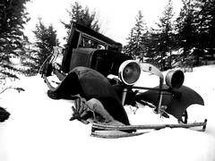Abandoned .... (Mr. Happy Face - Peace :)) Tags: art2019 rust metallic truck snowstorm stuck black white bw